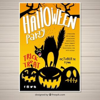Furious black cat halloween poster