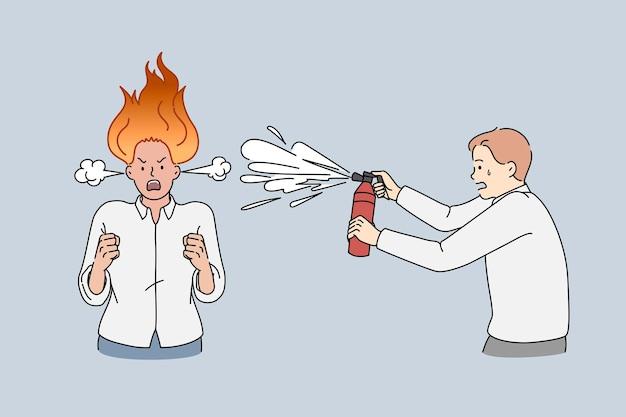 猛烈なビジネスレディが燃えて叫んでいます。消火器を持つ男によってスプレーされた頭に火を持った怒りの女性のベクトル概念図。