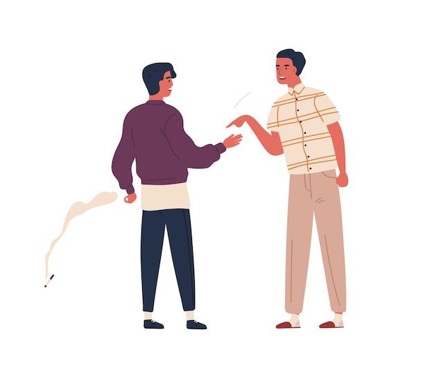 분노한 아버지는 10대 아들에게 담배 벡터 플랫 삽화를 꾸짖습니다. 흰색 배경에 격리된 화난 아빠와 흡연자 청소년 사이의 논쟁. 남성 십대와 부모 갈등.