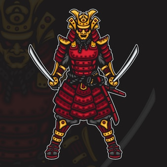 Furious japanese samurai warrior esport mascot illustration