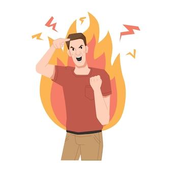 Яростный кричащий парень сумасшедший человек огонь пламя