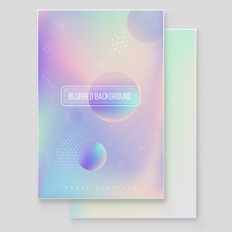 Набор футуристических современных голографических обложек. 90-е, 80-е в стиле ретро. битник стиль графических геометрических голографических элементов. радужная графика для брошюры, баннер, обои, мобильный экран