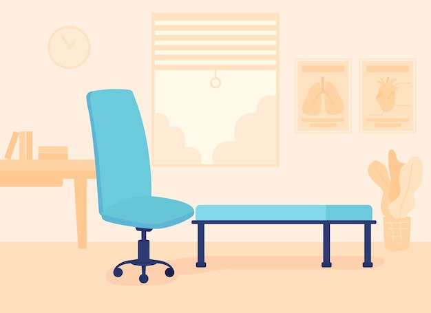 Furnished psychotherapy room flat color vector illustration