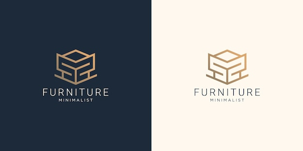 Furniture abstract logo with creative geometric line style design for furniture store inspiration