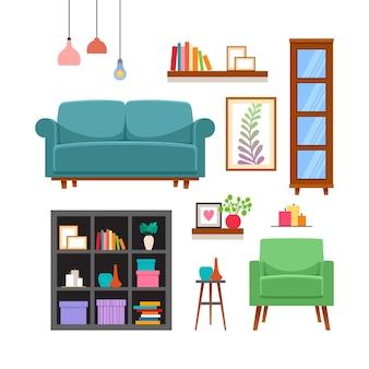 Набор мебели и аксессуаров для дома.
