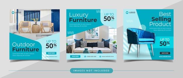 Баннер в социальных сетях для мебели и домашнего декора для шаблона сообщения instagram