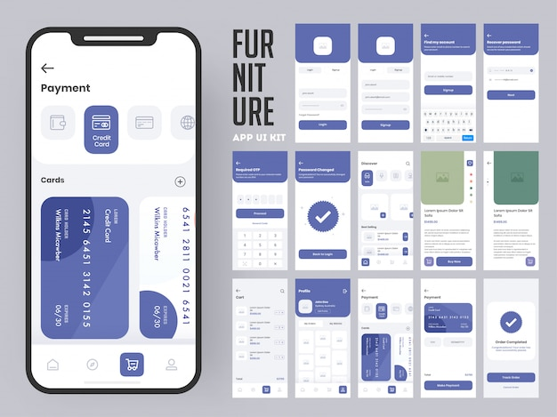 Furniture app ui kit for responsive mobile app or website with multiple screens as log in, create account, profile, order and payment.