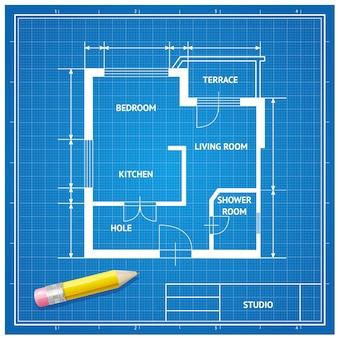 연필 배경으로 가구 건축가 청사진. 파란색에 흰색.