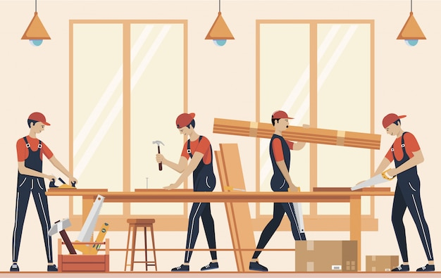 Furniture assembly concept illustration. manufacture of furniture. workers of manufacture with professional tools.