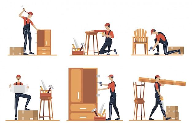 家具組立の概念図。プロのツールを使って製造する労働者。家具店の専門家からの助け。フラット漫画イラスト