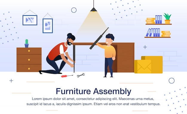 Furniture assembly flat vector illustration