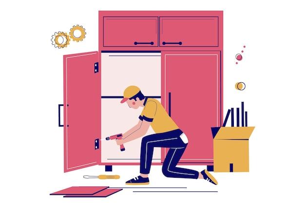 Furniture assembly. handyman, carpenter, furniture installer assembling wardrobe using hand drill, vector illustration.