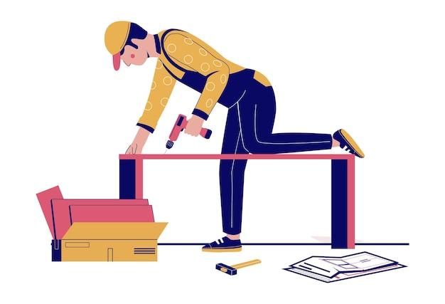 Furniture assembly handyman furniture collector assembling closet cupboard using hand drill tool vec...