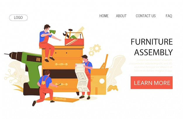 Furniture assembly vector concept