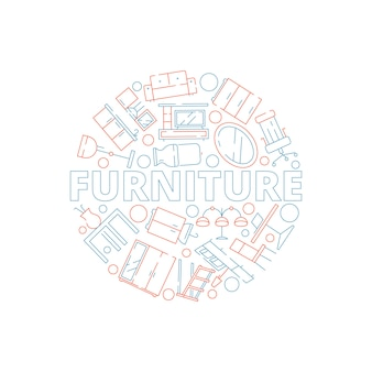 Furniture background. interior tools in circle shape sofa chair table bed household
