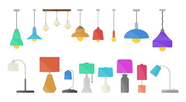 Мебельная люстра, напольная и настольная лампа в плоском мультяшном стиле. люстры, осветитель, фонарик, изолированные на белом фоне. домашний свет с лампами иконы.