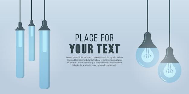 플랫 만화 스타일의 가구 샹들리에, 바닥 및 테이블 램프. 램프 표시등이 켜집니다. 텍스트를 배치하십시오. 현대적인 인테리어. 비즈니스 광고 배너 텍스트에 대 한 장소입니다. 삽화.
