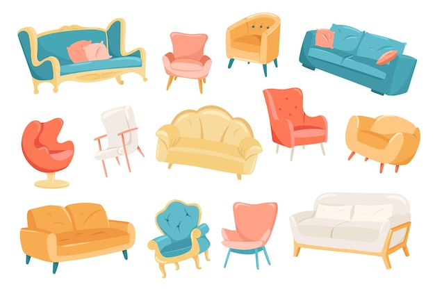 Furniture cute elements set