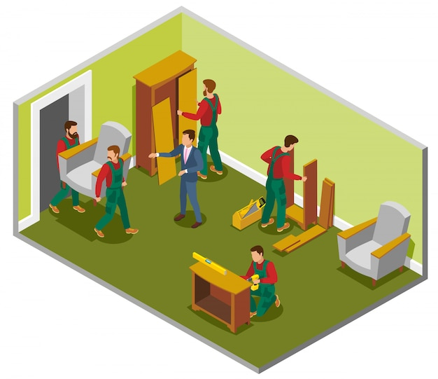 Furniture delivery isometric composition