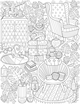 Furniture doodle set couch lamps cat table candles cups colorless line drawing house interior