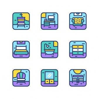 Furniture environment area icon set vector collection