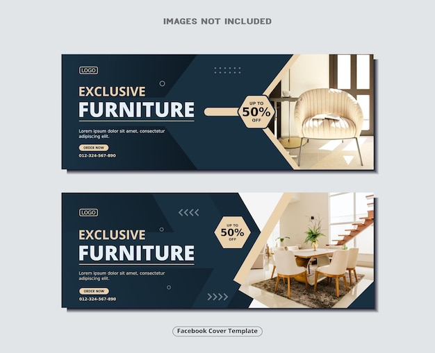 Furniture facebook cover page and sale banner design template