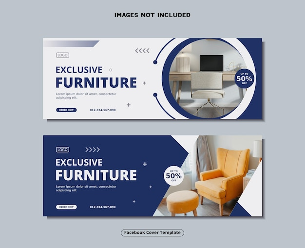 Furniture facebook cover and social media banner template