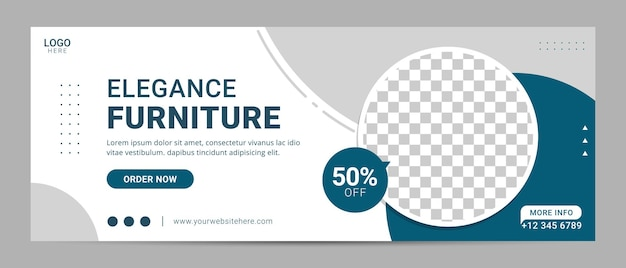 Furniture facebook cover template banner sale for home interior advertisement