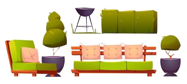 バーベキュー用の調理グリル付きの裏庭またはパティオ用の家具
