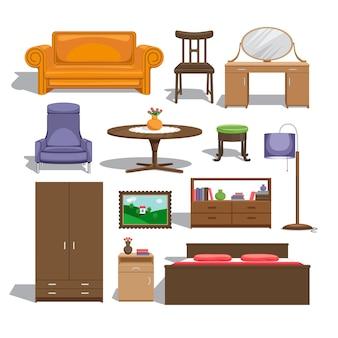 침실 용 가구. 램프와 테이블, 의자와 그림, 서랍장과 옷장, 더블 침대와 소파, 테이블과 인테리어.