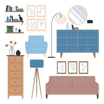 スカンジナビアスタイルのリビングルーム用家具
