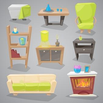 ソファと家具付きインテリアのソファまたはソファの家具家具デザインアパートの装飾用の椅子付きのアームチェアまたは背景に分離された部屋のイラストを設定