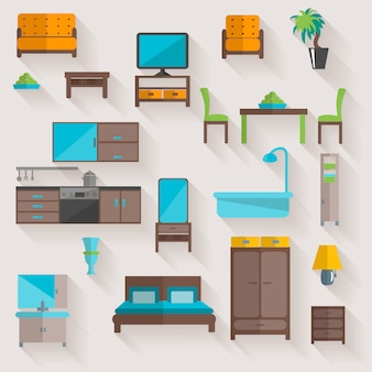 Набор мебели для дома плоские иконки Бесплатные векторы