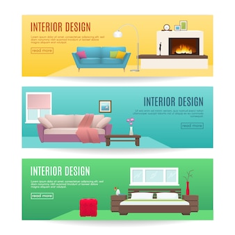 Furniture horizontal banners set with design of fireplace lounge and bedroom interiors isolated vector illustration