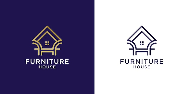 Furniture house logo with color gold design