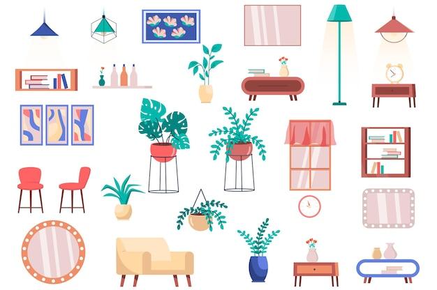 家具観葉植物と装飾分離要素セット椅子の束アームチェアテーブルランプ