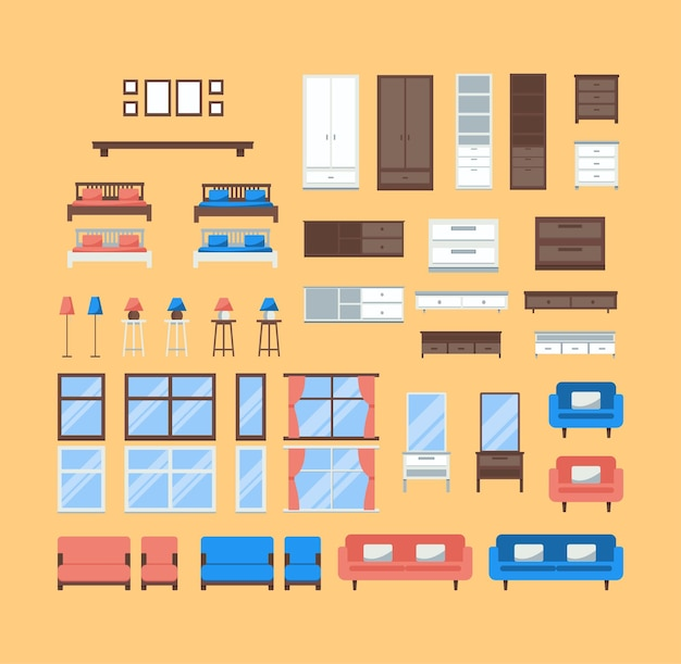Furniture house room elements set icons