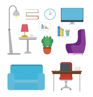 Furniture icons and decoration from house.