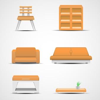 家具のアイコン。デザインイラストのグラフィックコンセプト