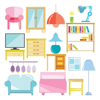 Furniture icons for living room decoration set