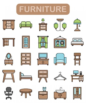 Furniture icons set, lineal color style premium