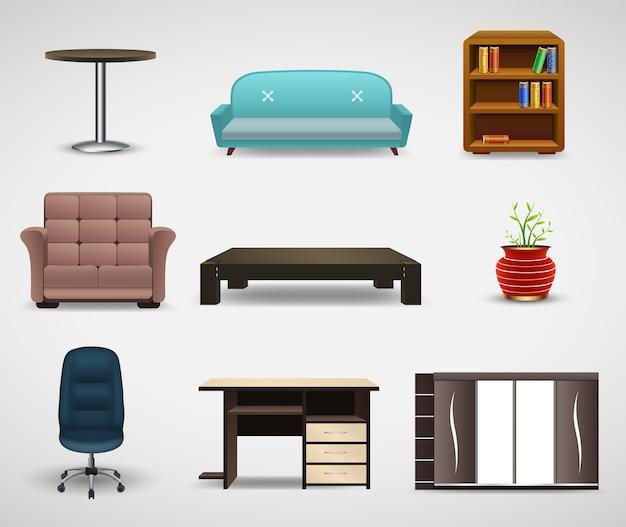 家具のアイコン、インテリア要素のセット。