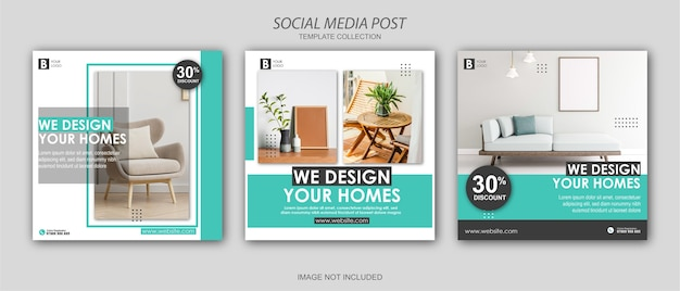 Furniture instagram social media post template set