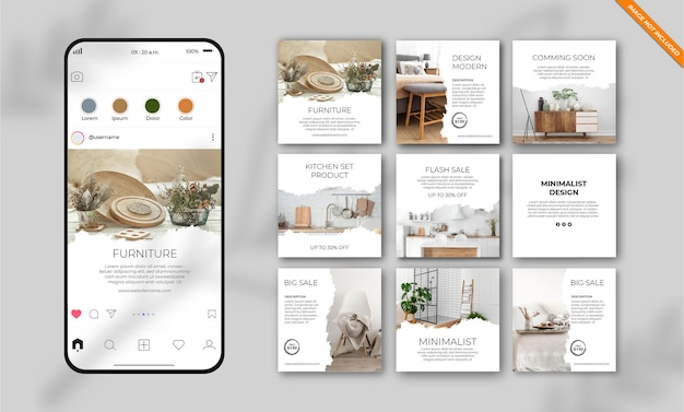 Furniture instagram social media post template set