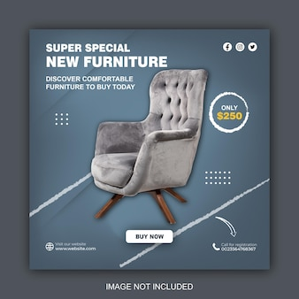 Furniture instagram social media post template