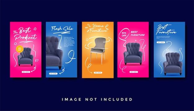 Furniture instagram stories promotion template collection