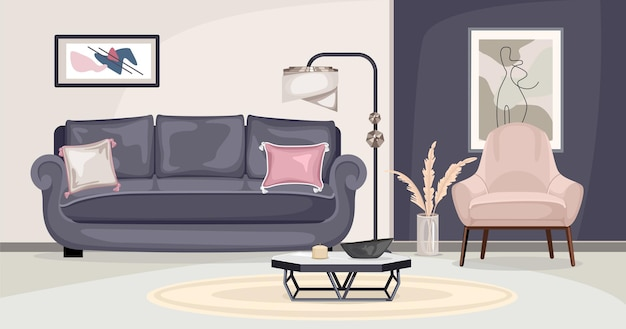 Furniture interior composition with view of living room with sofa chair and paintings on colorful walls illustration