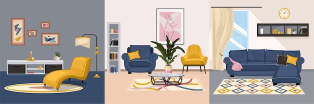 Furniture interior design concept with set of square compositions with views of interiors with designer furniture