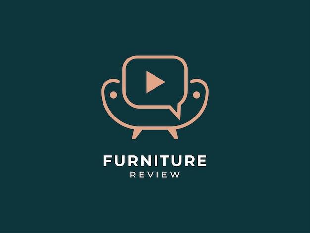 Furniture interior review logo design concept