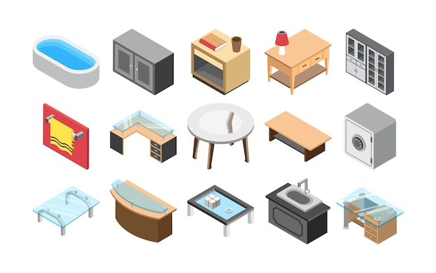 Furniture and interiors flat icons